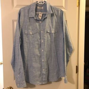 NWT Express Men's Linen/Ctn LS Shirt